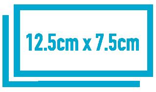 12.5 x 7.5 cm